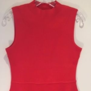 Talbots Size Mp Sleeveless Peplum Knit Top, Red